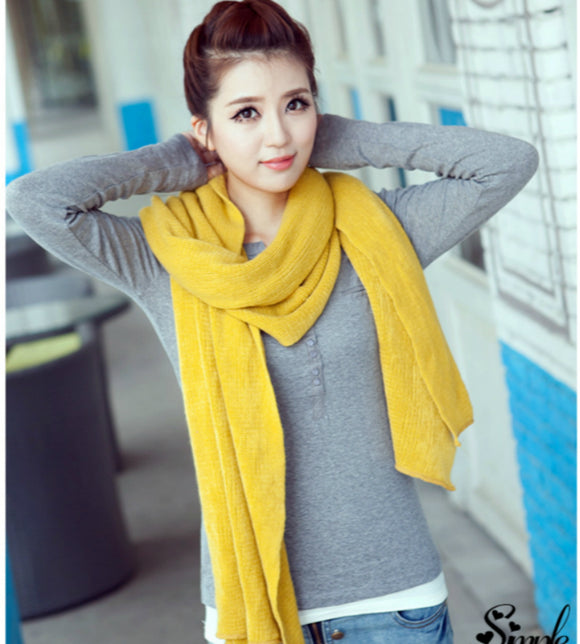 Korean Simple Solid Color Warm Winter Scarf Women 220cm Elastic Knitted Wool
