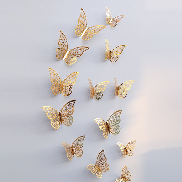 12 Pcs 3D Wallpaper Hollow Wall Stickers Butterfly Fridge For Home Decoration New Wall Stickers High Quality Home Decorations - NosNos
