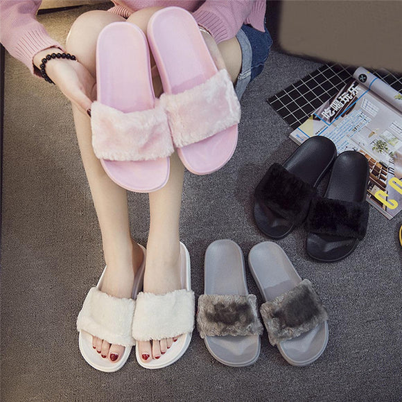 2018 New Casual Slipper Flip Flop Sandal Womens Slippers Zapatos Mujer Ladies Slip On Sliders Fluffy Faux Fur Flat Size 36~41 - NosNos