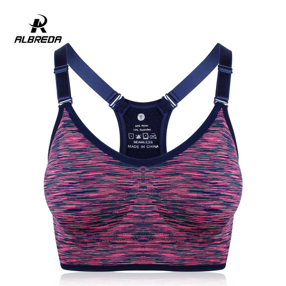 ALBREDA Women Yoga bra Sports Bra Running Fitness Gym bras female Straps Padded Crop Top Underwear Athletic Segment dyeing Vest