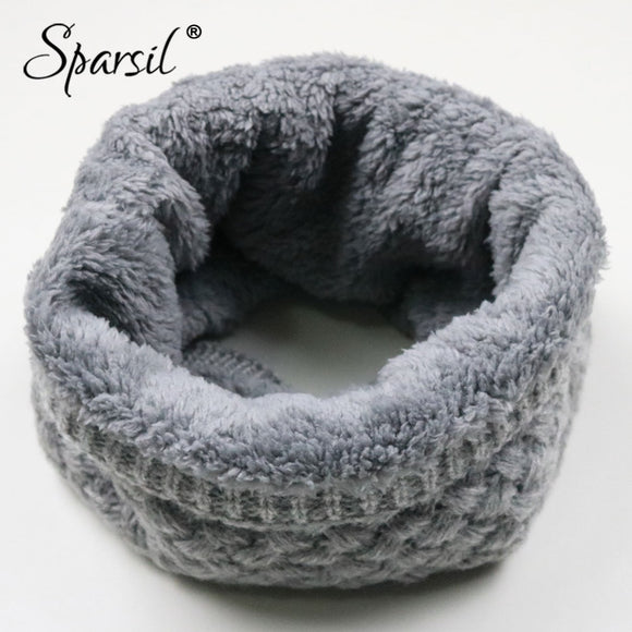 Sparsil Unisex Winter Warm Knitted Ring Scarves Thick Fleece Inside Super Elastic