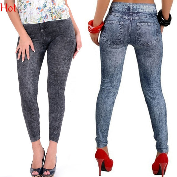 Cheap New Slim False Imitation Jeans Fitness Leggins Women