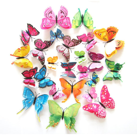 12Pcs 3D Double layer Butterfly Wall Sticker on the wall for Home Decor DIY Butterflies Fridge Magnet stickers Room Decoration - NosNos
