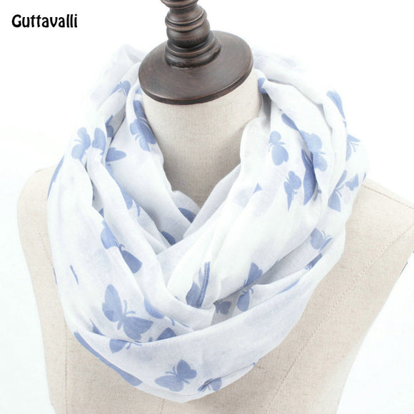 Guttavalli Fashion Woman Solid Butterfly Print Loop Shawl