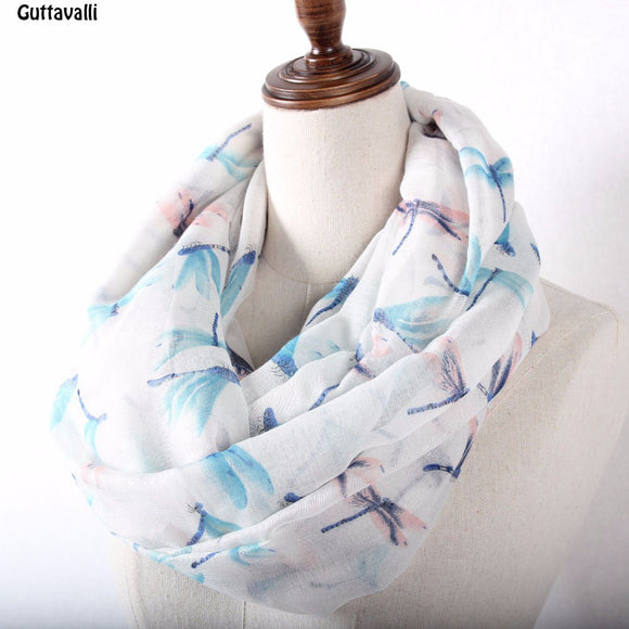 Guttavalli Women Ring Shawl White Beige Blue Flower Stripes Loop Scarf
