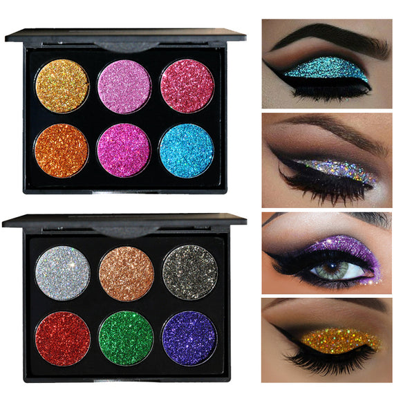 Brand New For Diamond Golden 6 Color Powder Glitter Palette Shiny Eye Palette