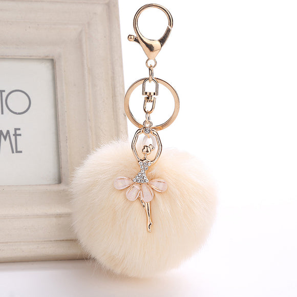 ZOEBER Fake Rabbit Fur Ball KeyChain Pompom Key Chain Pom Pom Key Rings