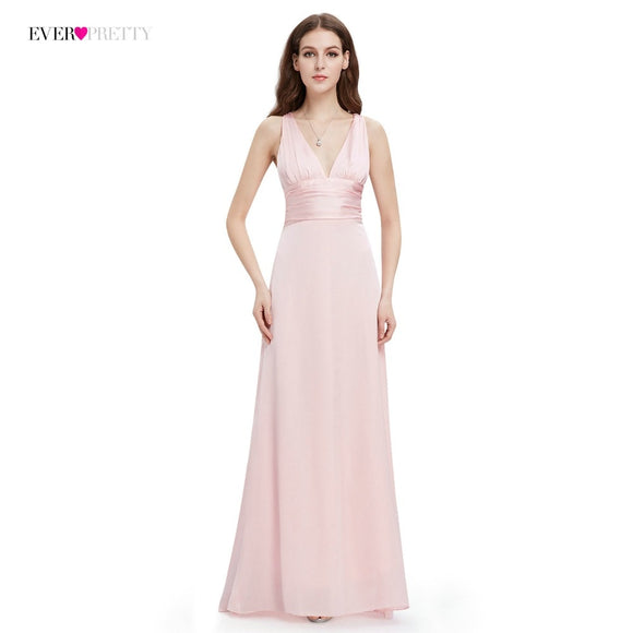 A-line Double V-neck Sleeveless Elegant Evening Dresses Long Formal