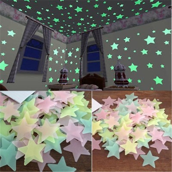 50pcs 3D Stars Glow In The Dark Wall Stickers