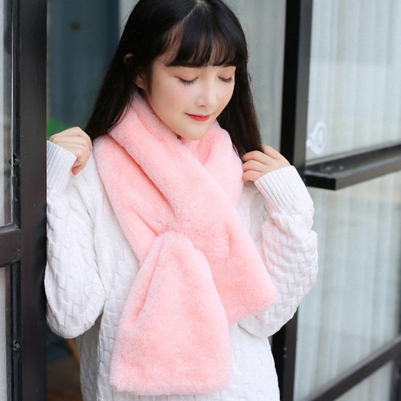 10 colors Faux Fur Collar Winter Scarf Women faux Knitted Rex Rabbit Fur