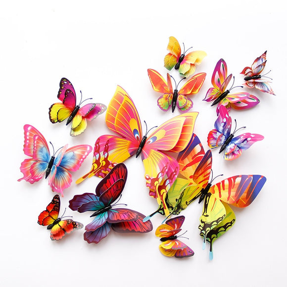 New style 12Pcs Double layer 3D Butterfly Wall Sticker