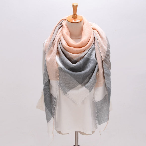 Winter Triangle Scarf For Women Brand Designer Shawl Cashmere Plaid Scarves