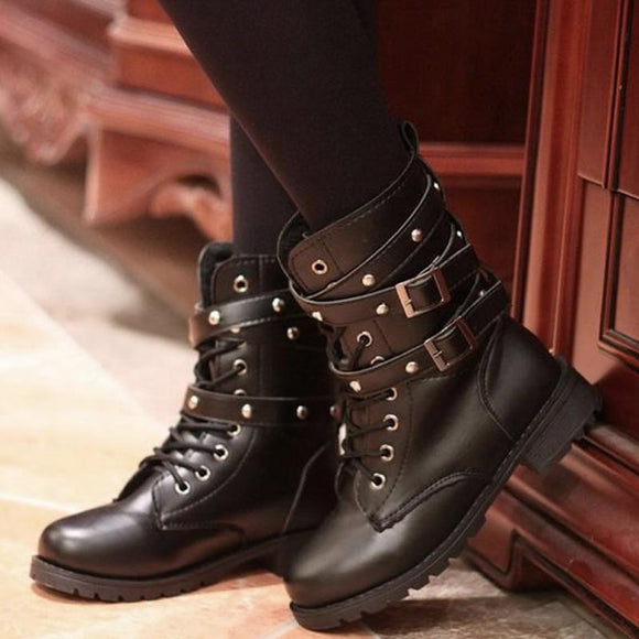 2018 Fashion New Punk Gothic Style Lace up Belts Round Toe Boots Women Shoes Short Boots Street haulage motor mujer zapatos - NosNos