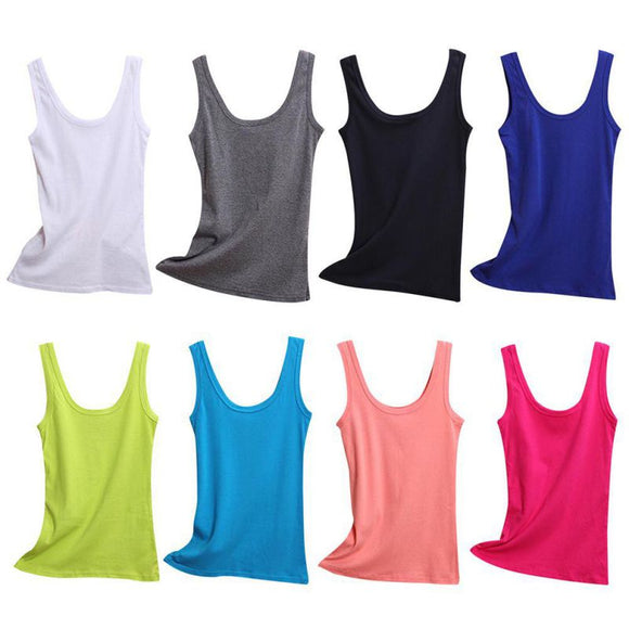 Spring Summer Tank Tops Women Sleeveless Round Neck Loose T Shirt