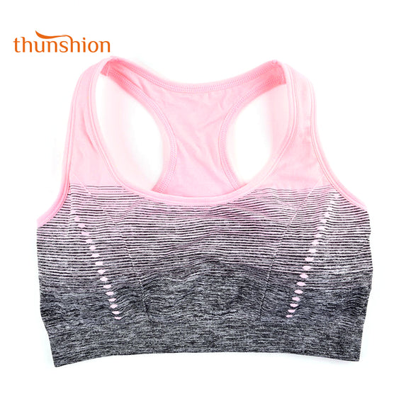 THUNSHION High Stretch Breathable Sports Bra Top Fitness Women Padded Sport Bra for Running Yoga Gym Seamless Crop Bra Gradient