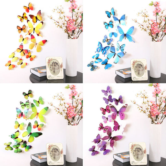 12Pcs Butterflies Wall Sticker Decals Stickers on the wall New Year Home Decorations 3D Butterfly PVC Wallpaper for living room - NosNos