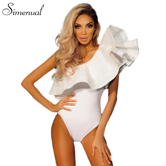 One shoulder ruffles fitness bodysuit women clothing 2018