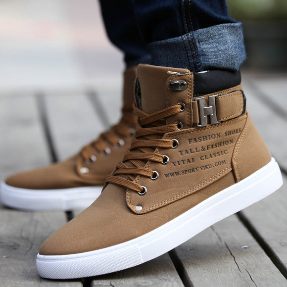Hot 2018 Spring Autumn Lace-Up Men's Canvas Shoes Big Size Man Buckle Casual Ankle Boots