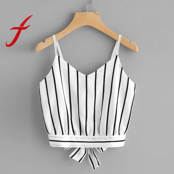 Feitong Sexy Women Crop Tops Striped Tie Back Cami Casual