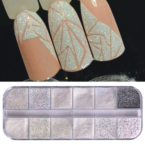 1 Set Super Shining Sugar/Mermaid Nail Glitter Powder Holographic Laser Pigment Dust Manicure Powder Nail Art Decoration BETY - NosNos
