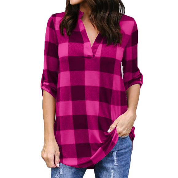 Fashion Plaid tshirt Plus Size XXXXL 5XL Summer T Shirt Women
