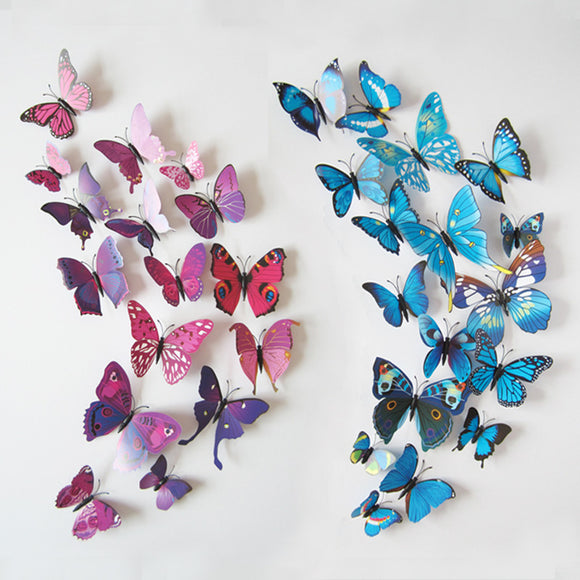 12pcs/lot 3D PVC Wall Stickers Magnet Butterflies DIY Wall Sticker Home Decor Poster Kids Rooms Wall Decoration Free Shipping - NosNos