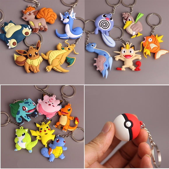 3D Anime Pokemon Go Key Ring Pikachu Keychain Pocket Monsters Key Holder