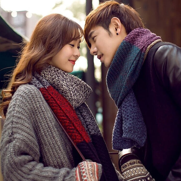 Mingjiebihuo Autumn and winter new couple hit color wool scarf men