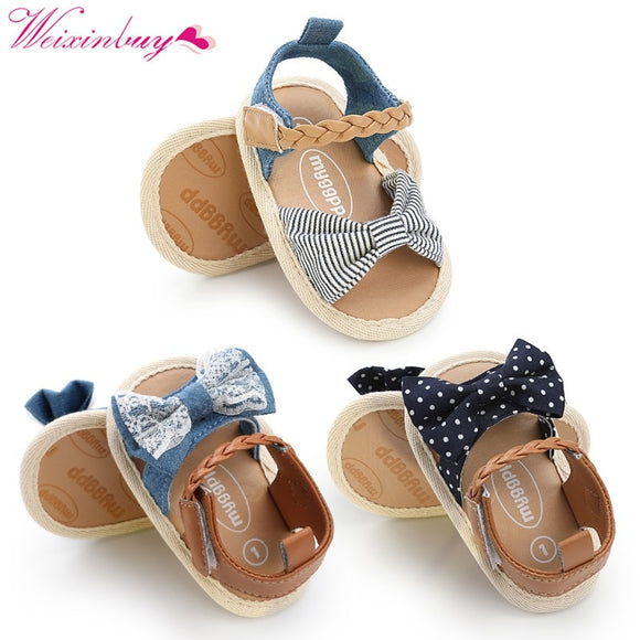 Baby Girl Sandals Baby Shoes Summer Cotton Canvas Dotted Bow Baby Girl Sandals