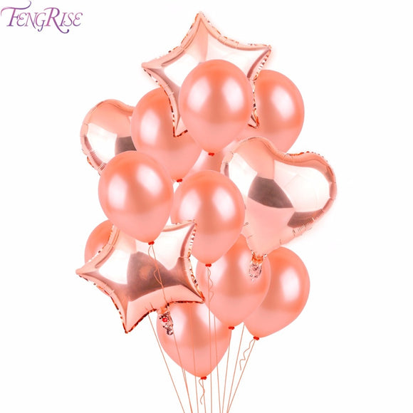FENGRISE Rose Gold Heart Balloon Foil Champagne Star Balloons