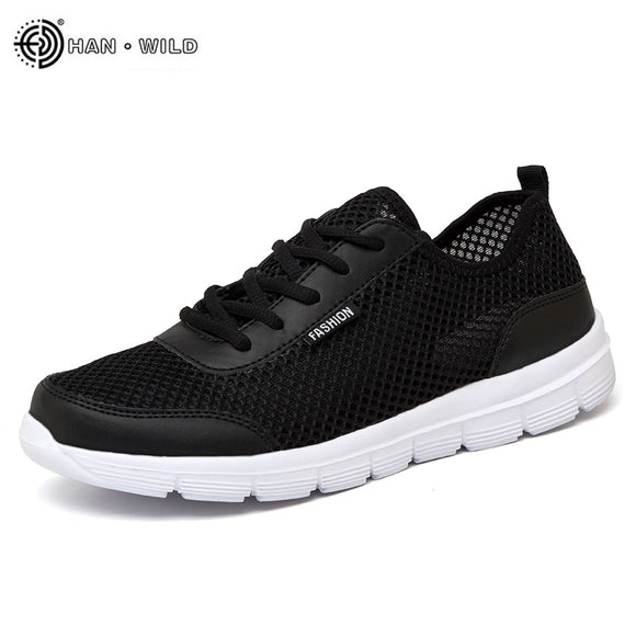 2018 Men Shoes Summer Sneakers Breathable Casual Shoes Couple Lover Fashion Lace up Mens Mesh Flats Shoe Big Plus Size - NosNos