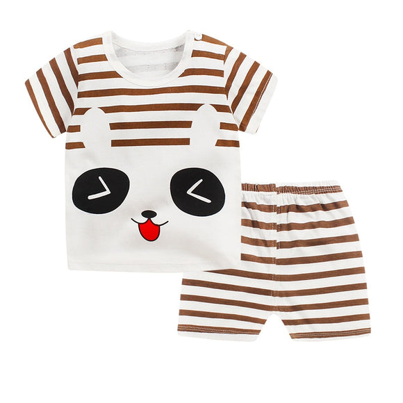 2018 Children's suit new cotton baby short sleeve clothing set summer baby boys and girls