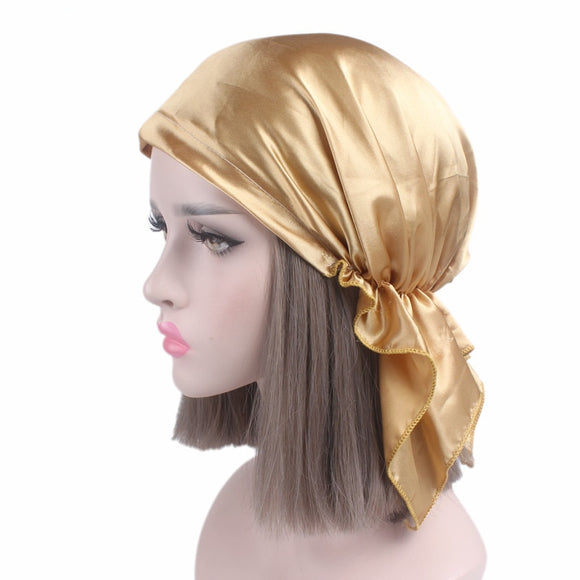 Helisopus Women New Solid Color Chemotherapy Cap Silk Bandana Head Scarf