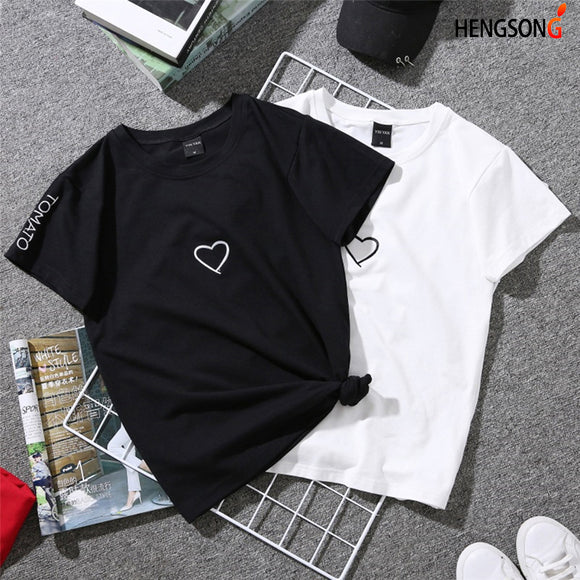 2018 Summer Couples Lovers T-Shirt For Women Casual White Tops Tshirt
