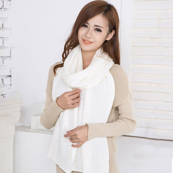 Korean warm solid color women girls scarf wool flash scarf wild shawl