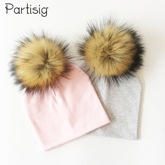 Baby Hat Faux Fur Baby Cap Cotton Pompom Bobble Hat