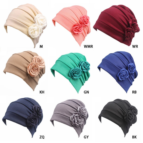 Women Flowers Cancer Chemo Hat Beanie Scarf Turban Head Wrap Cat