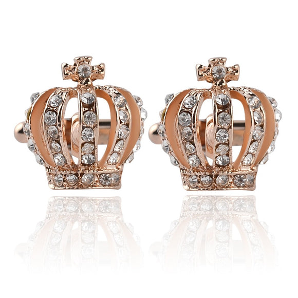 Gold Silver Bling Rhinestone Imperial Crown Cufflinks