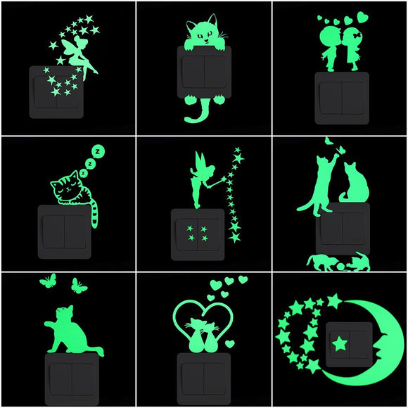 Cartoon Luminous Switch Sticker Glow in the Dark Wall Stickers