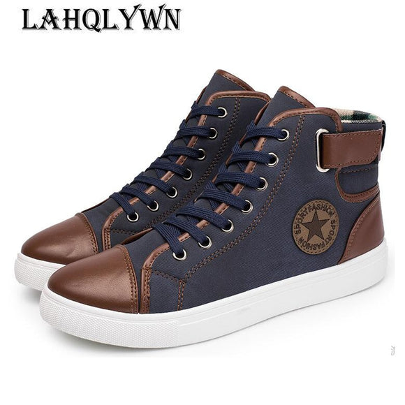 2018 New Arrive Men Causal Shoes Autumn Winter Front Lace-Up Leather Ankle Boots Shoes Man Casual High Top Canvas Men H29 - NosNos