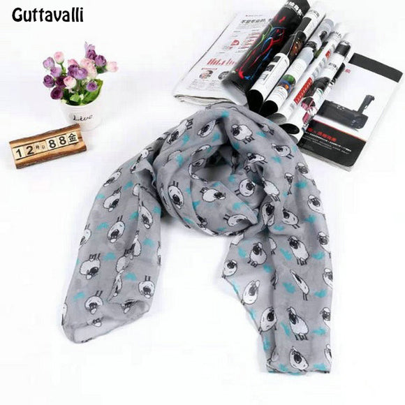 Guttavalli Winter New Charm Colorful Sheep Animal Long Shawl