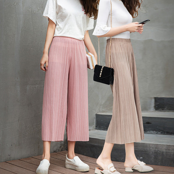 Pleated Stretchy Wide Leg Pants Women Summer High Waist Chiffon Pants