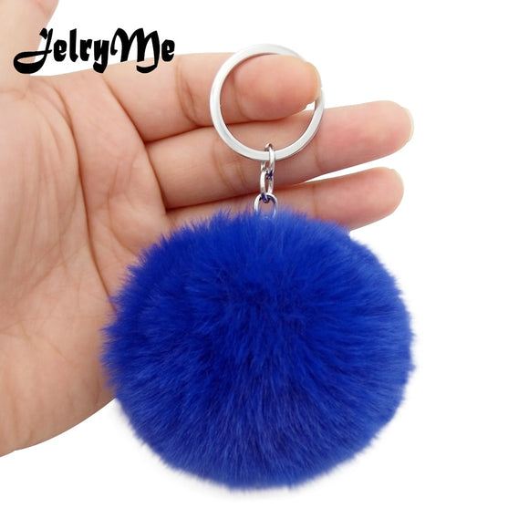 17 Colors Fluffy Fur Pom Pom Keychains Soft Faux Rex Rabbit Fur