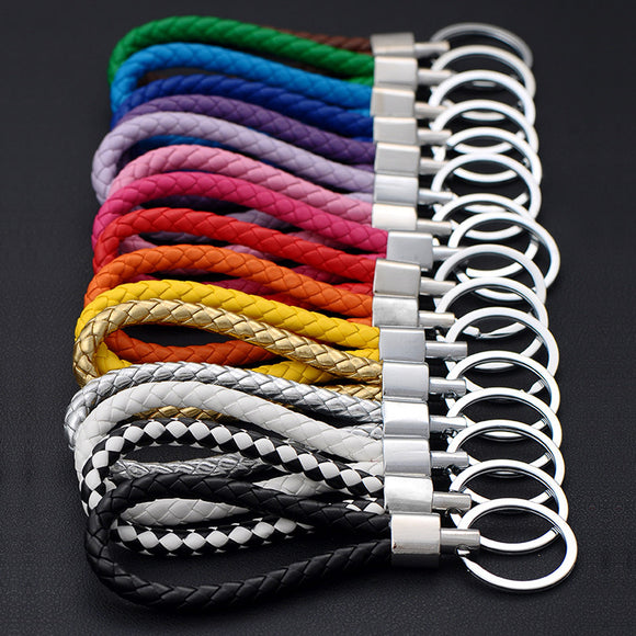 Fashion Handmade Leather Rope Woven Keychain Metal key rings Key Chains