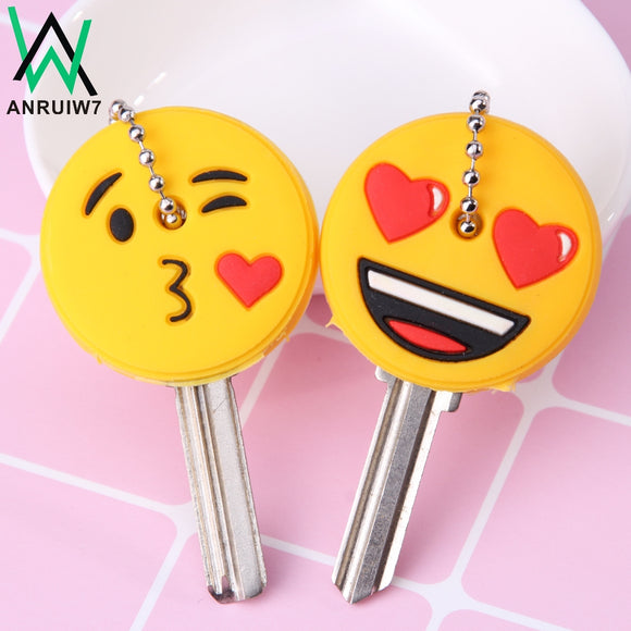 Cute Cartoon Emoticons Smile Key Cover Cap Silicone Amusing Head Yellow Face