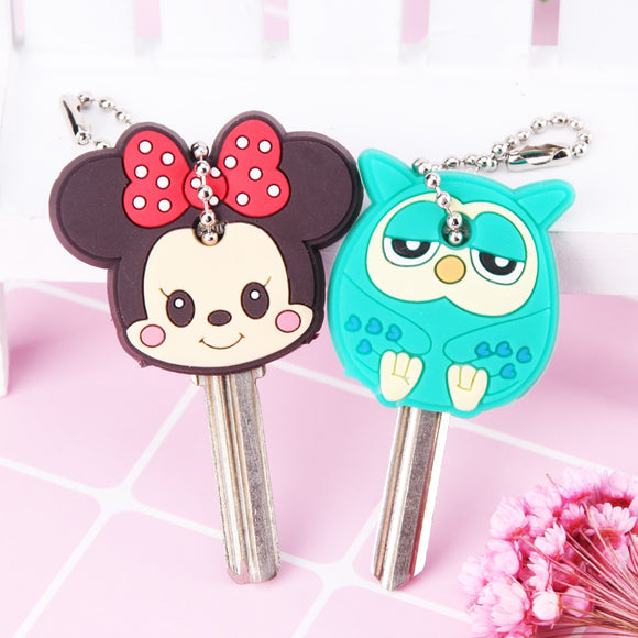 Cartoon Anime Cute Key Cover Cap Silicone Mickey Stitch Bear Keychain