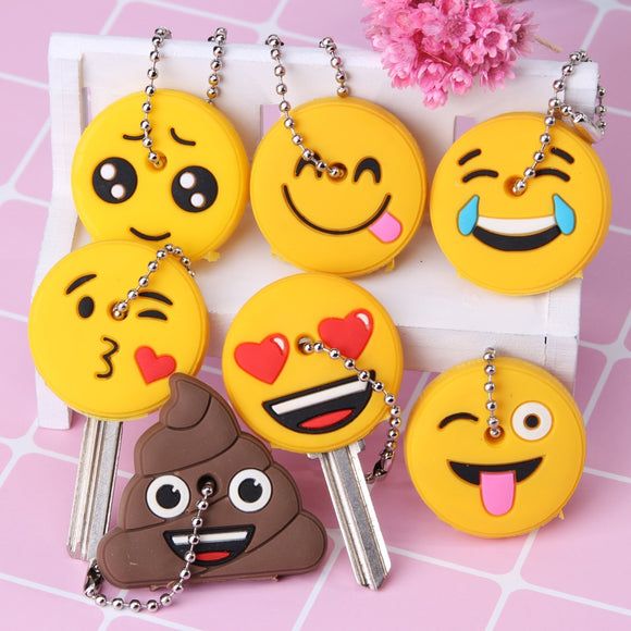 Emoticons Smile Key Cover Cap Silicone Cute Cartoon Head Amusing Yellow Face