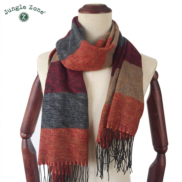 Women Scarf Autumn Winter Soft Stripe Scarf Men's Imitation Cashmere