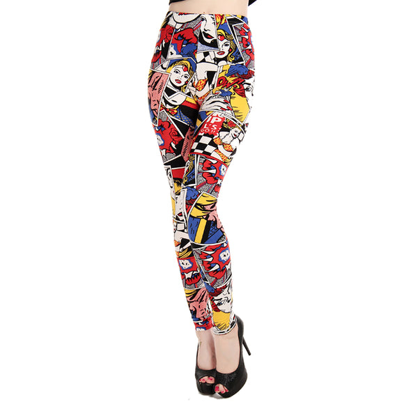 CDJLFH Women Low Waist Pants Graffiti Pattern Print Leggings