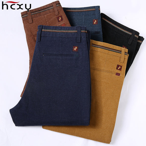 HCYX 2018 New Design Upscale Casual Men Pants Cotton Slim Male Pant